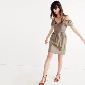 Madewell Khaki Olive Green Cold Shoulder Dress 6